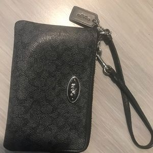 Coach Grey Black Wristlet